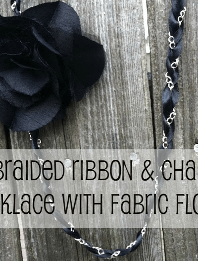 Braided Ribbon and Chain Necklace with Fabric Flower
