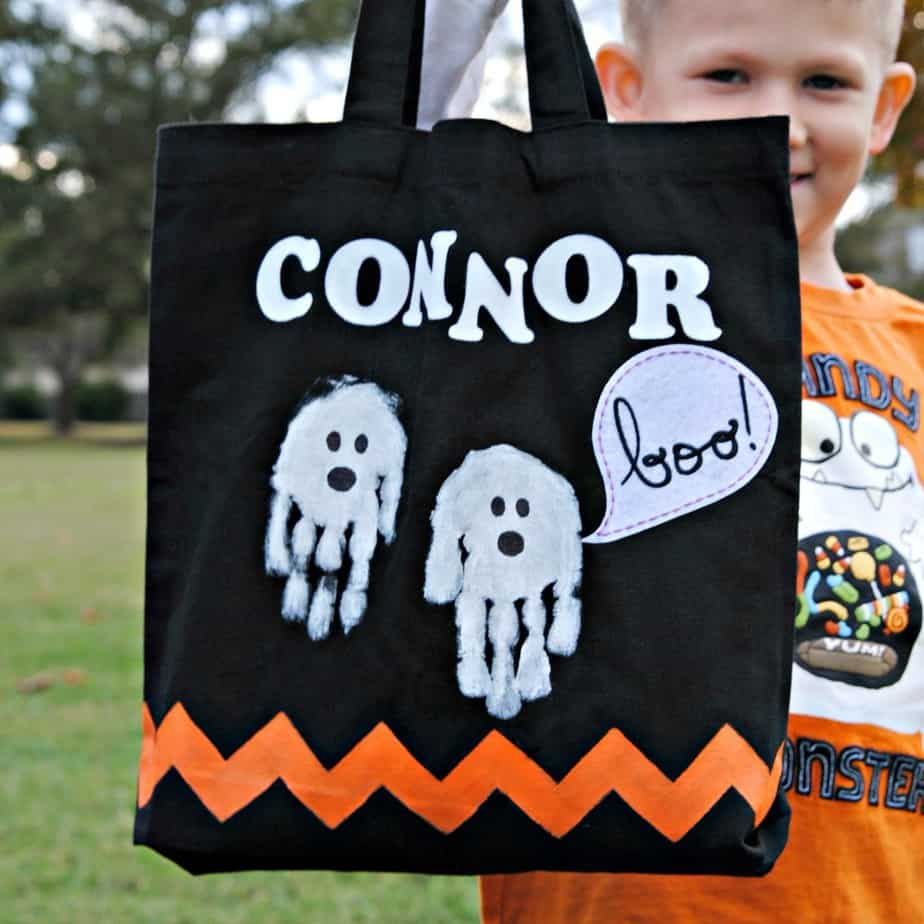 Personalized Treat Bag Handprint Ghosts