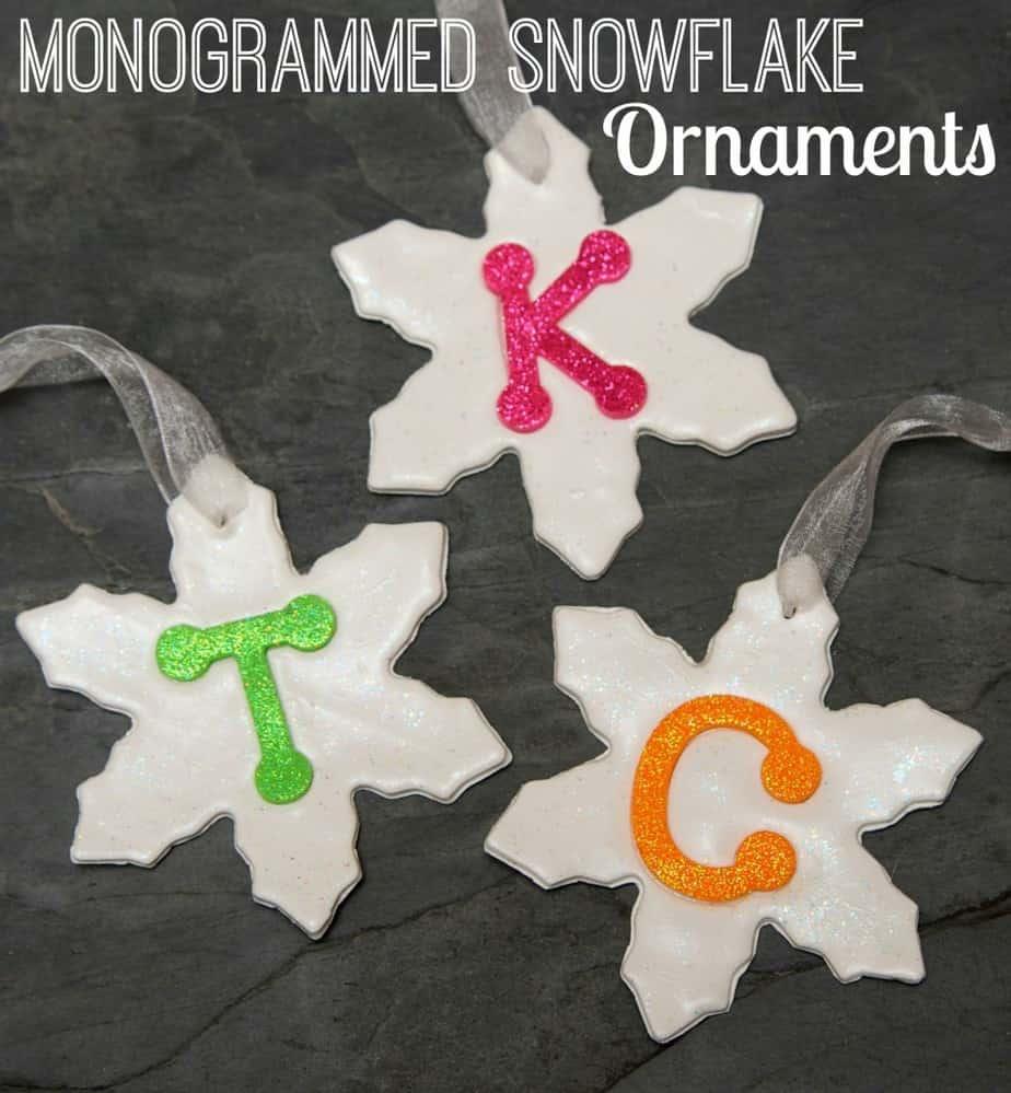 monogrammed snowflake ornaments