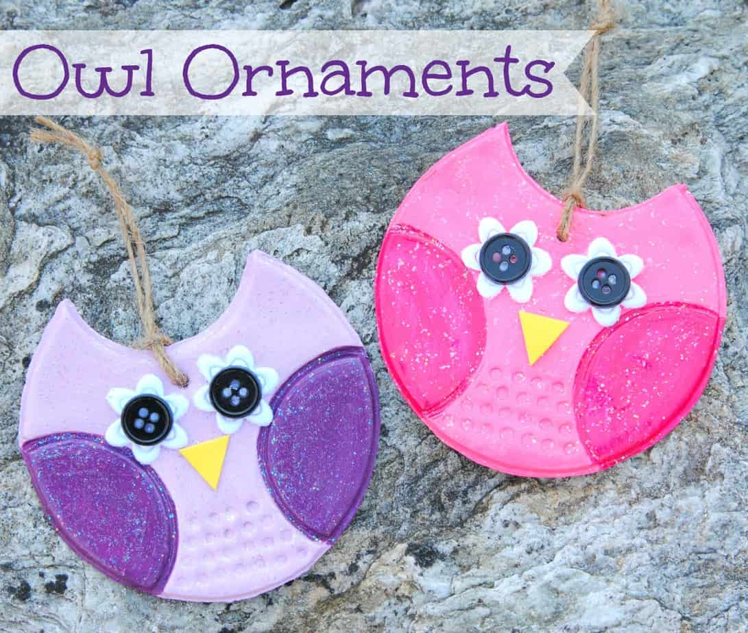 Owl ornaments using clay and buttons