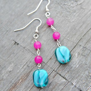 Pink and Teal Beaded Earrings