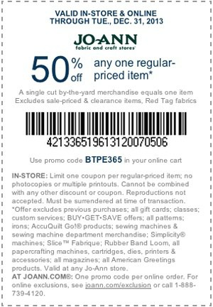 JoAnn's December Coupon