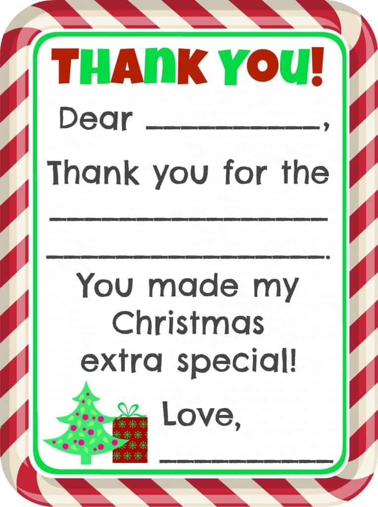 image regarding Christmas Thank You Cards Printable Free called Fill-inside-the-Blank Xmas Thank By yourself Playing cards Absolutely free Printable