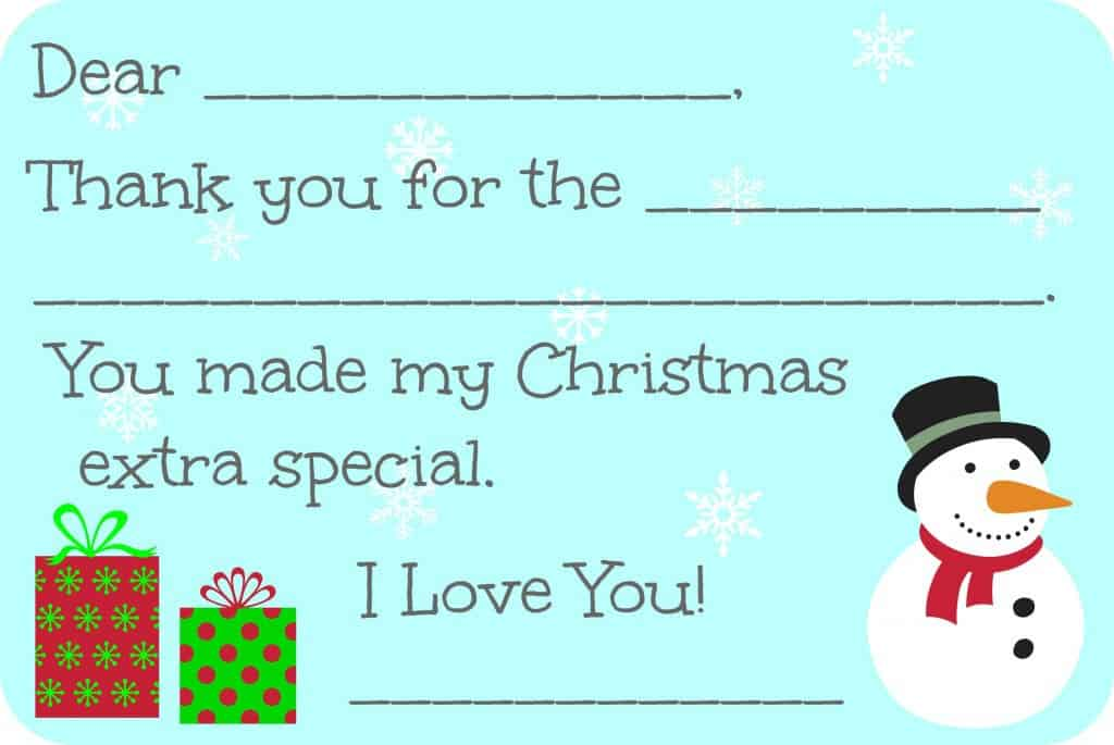 photograph regarding Christmas Thank You Cards Printable Free called Fill-within-the-Blank Xmas Thank On your own Playing cards Totally free Printable