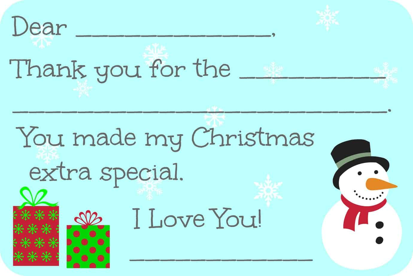 Fill-in-the-Blank Christmas Thank You Cards Free Printable