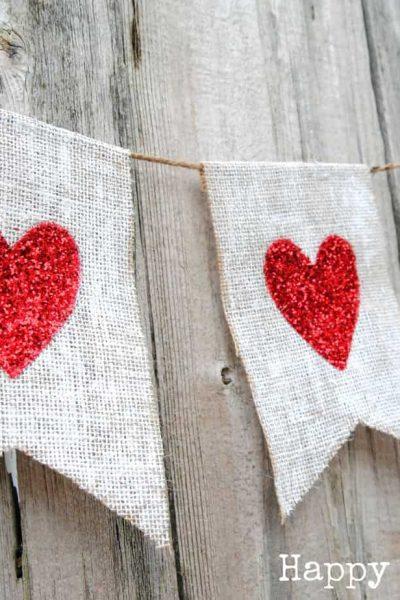 Glitter Heart Burlap Banner