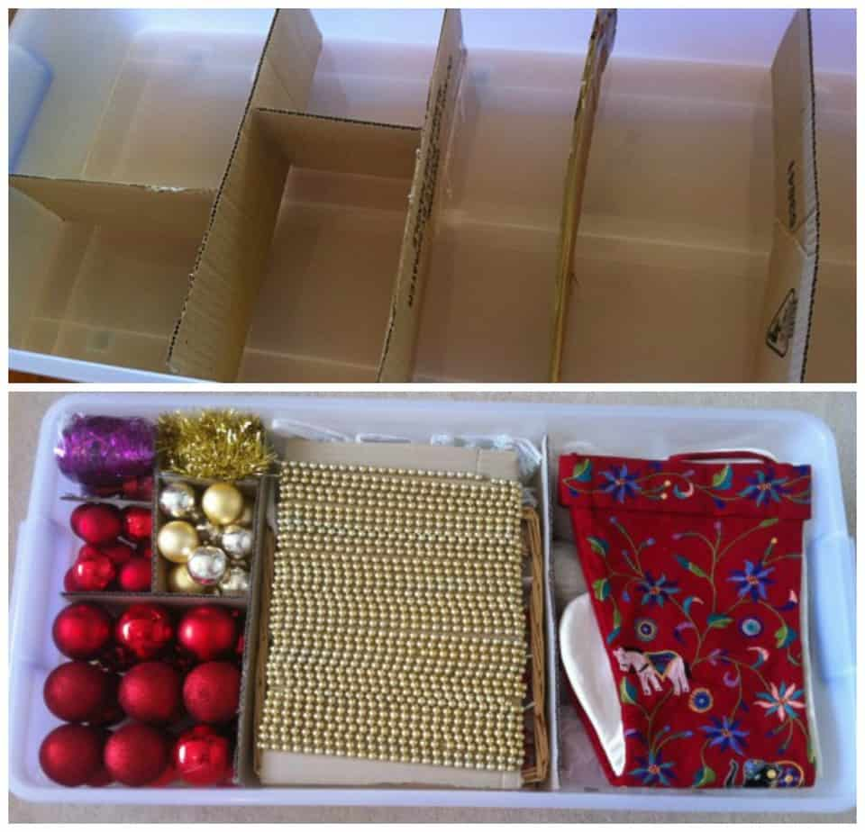 storing Christmas decorations
