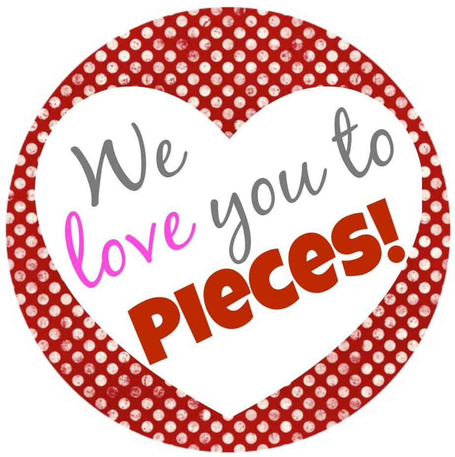 We Love You to Pieces Gift Tag - Valentine's Day Gift in a Jar