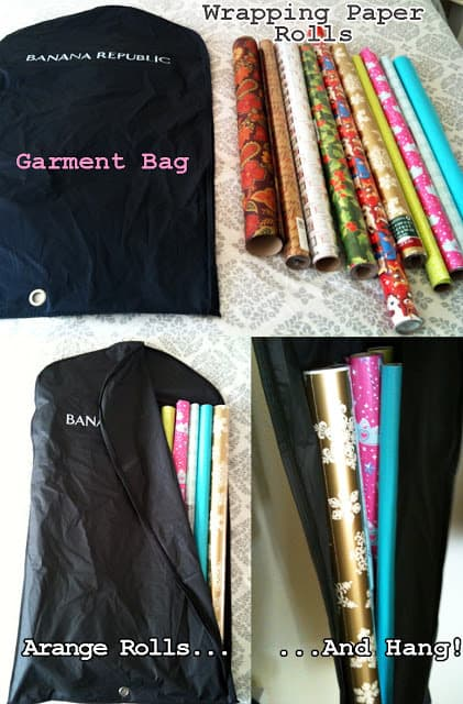 storing wrapping paper and gift wrap