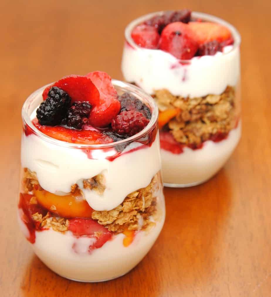 fruit and yogurt parfait organic fruit
