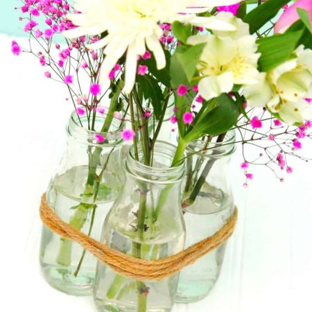 Spring Centerpiece using Upcycled Bottles