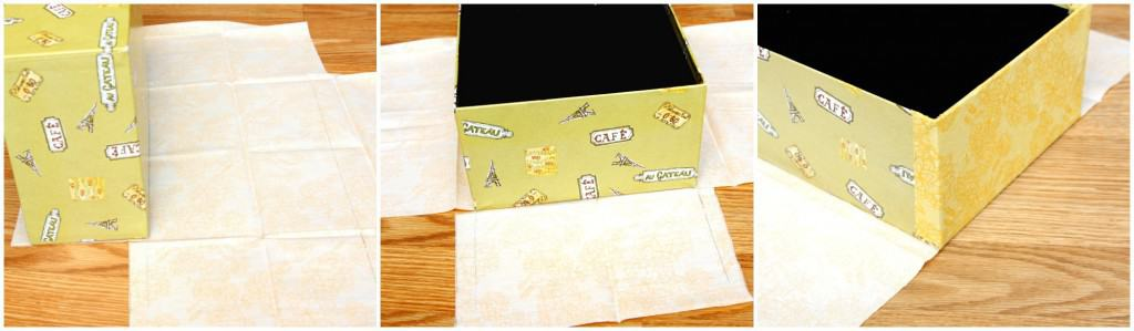 fabric covered boxes collage