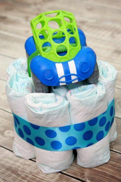 mini diaper cake and gift card holder