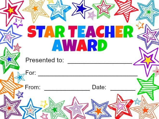 Star Teacher Award Printable