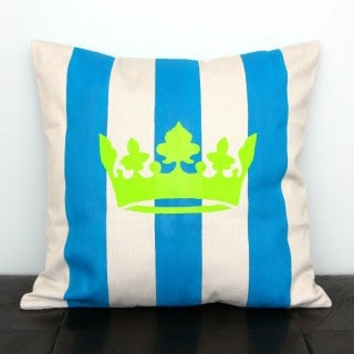 Crown and Striped Throw Pillow