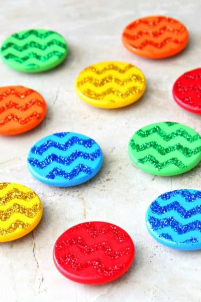 Stenciled Magnets using Glitter and Mod Podge