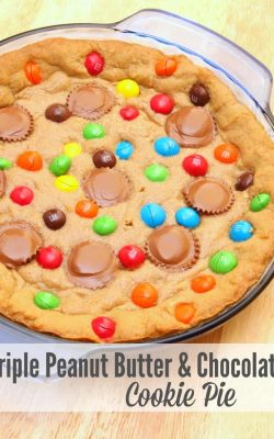Triple Peanut Butter and Chocolate Cookie Pie