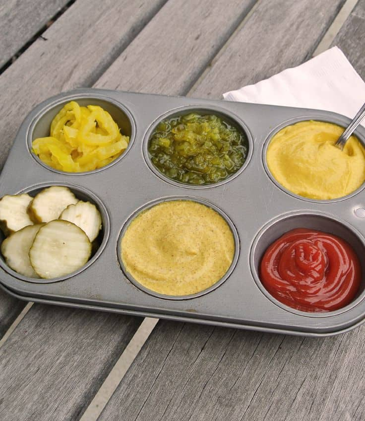 serve condiments in muffin tin