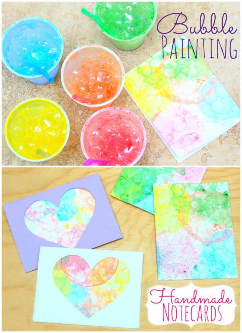 Bubble Painting and handmade cards