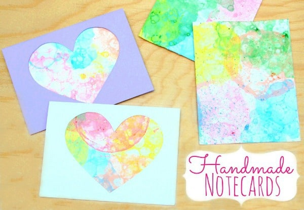 handmade cards + bubble paint