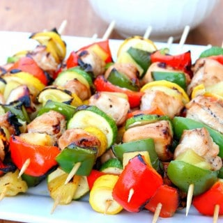 Hawaiian Chicken Kabobs {with a 3 Ingredient Marinade}