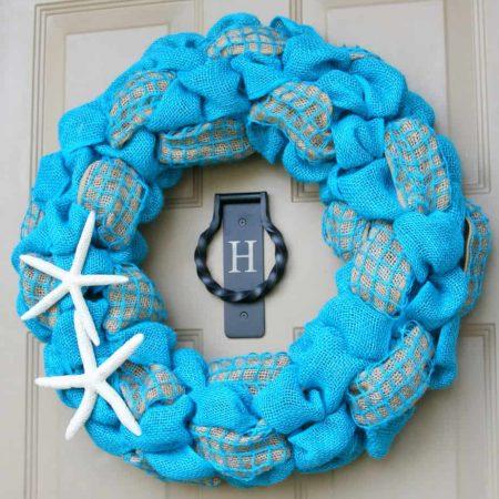 Summer Burlap and Starfish Wreath