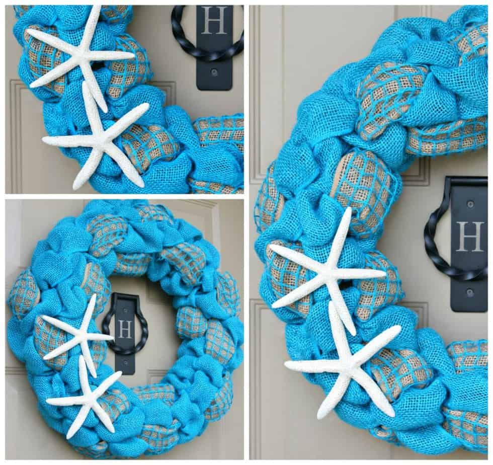 Summer Burlap and Starfish Wreath