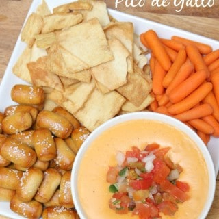 Cheddar Ale Dip with Pico De Gallo