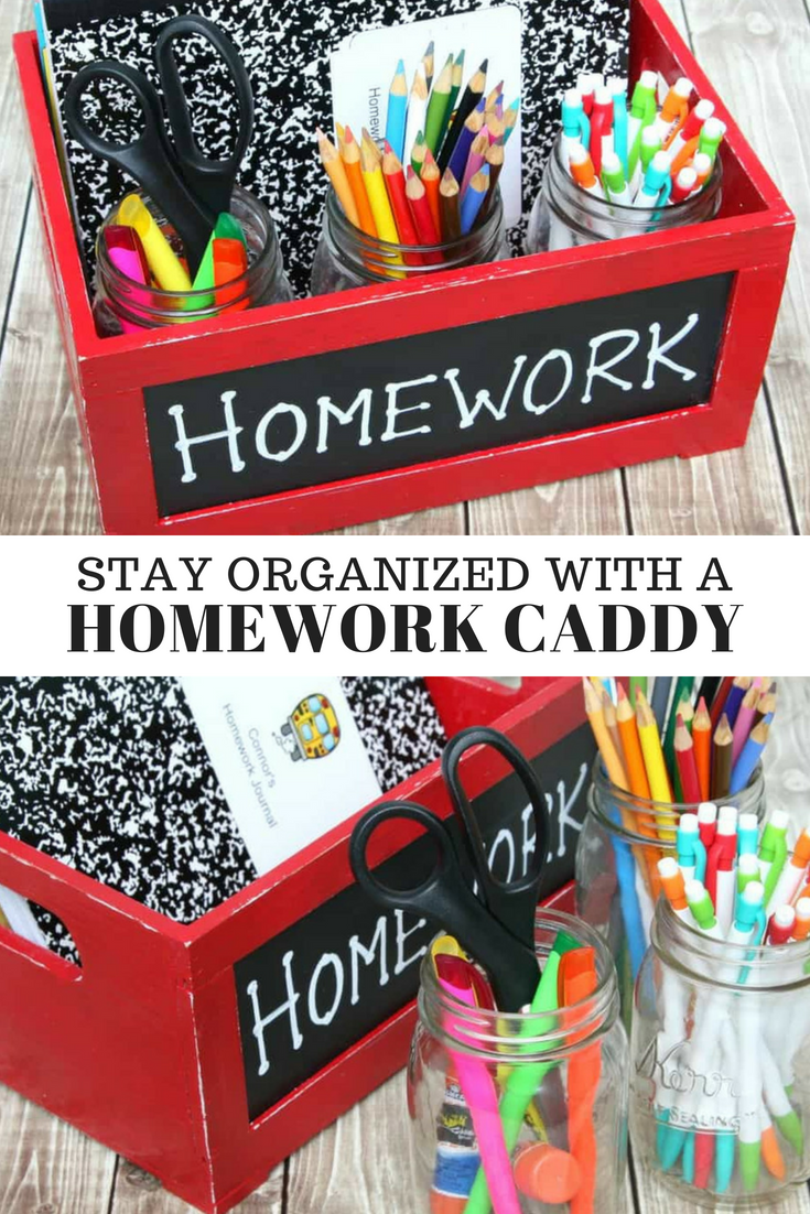 Stay organized with a Homework Caddy.  Perfect for homework, school projects, and more!