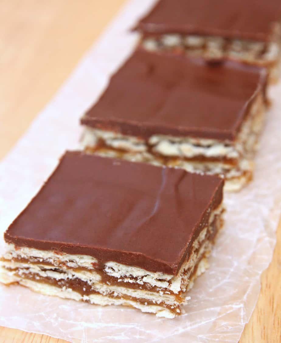 Chocolate Caramel Crunch Bars - No Bake Holiday Treat