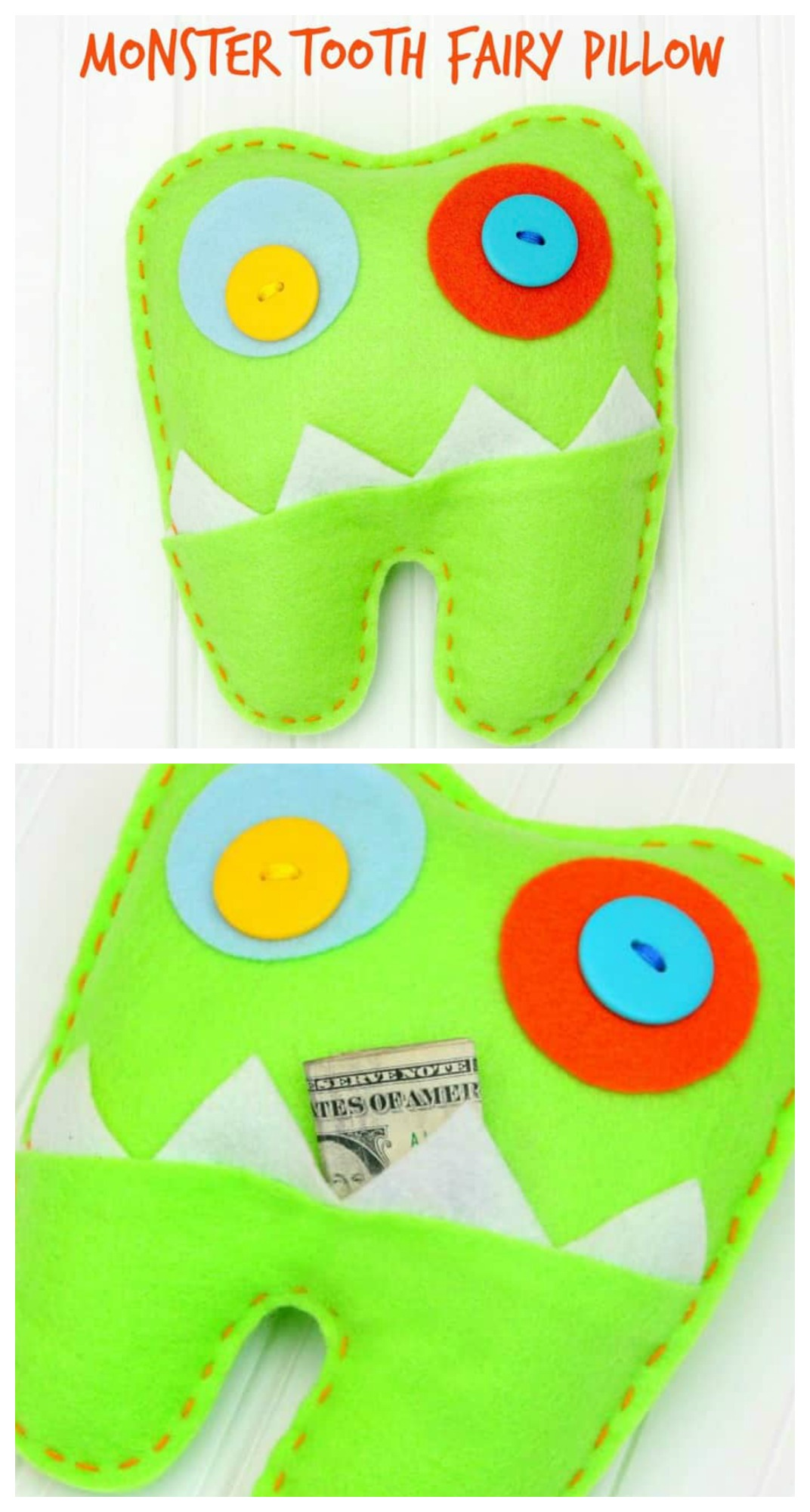 No Sew Monster Tooth Fairy Pillow