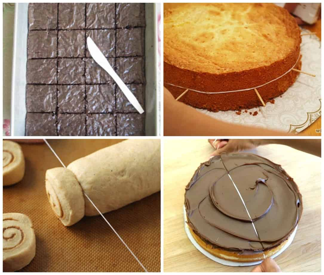 Using dental floss to cut cookie dough and cakes