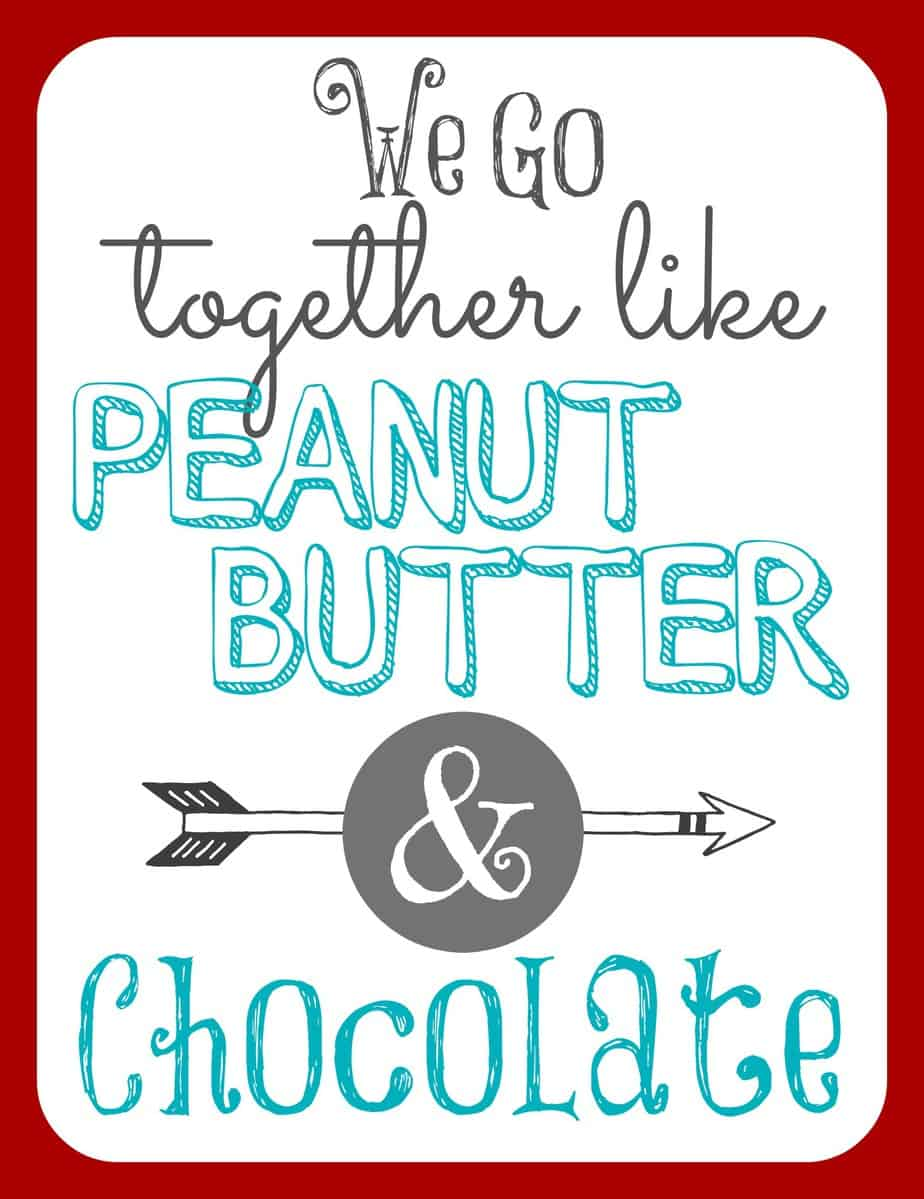 Peanut Butter and Chocolate Gift Tag - Free Printable