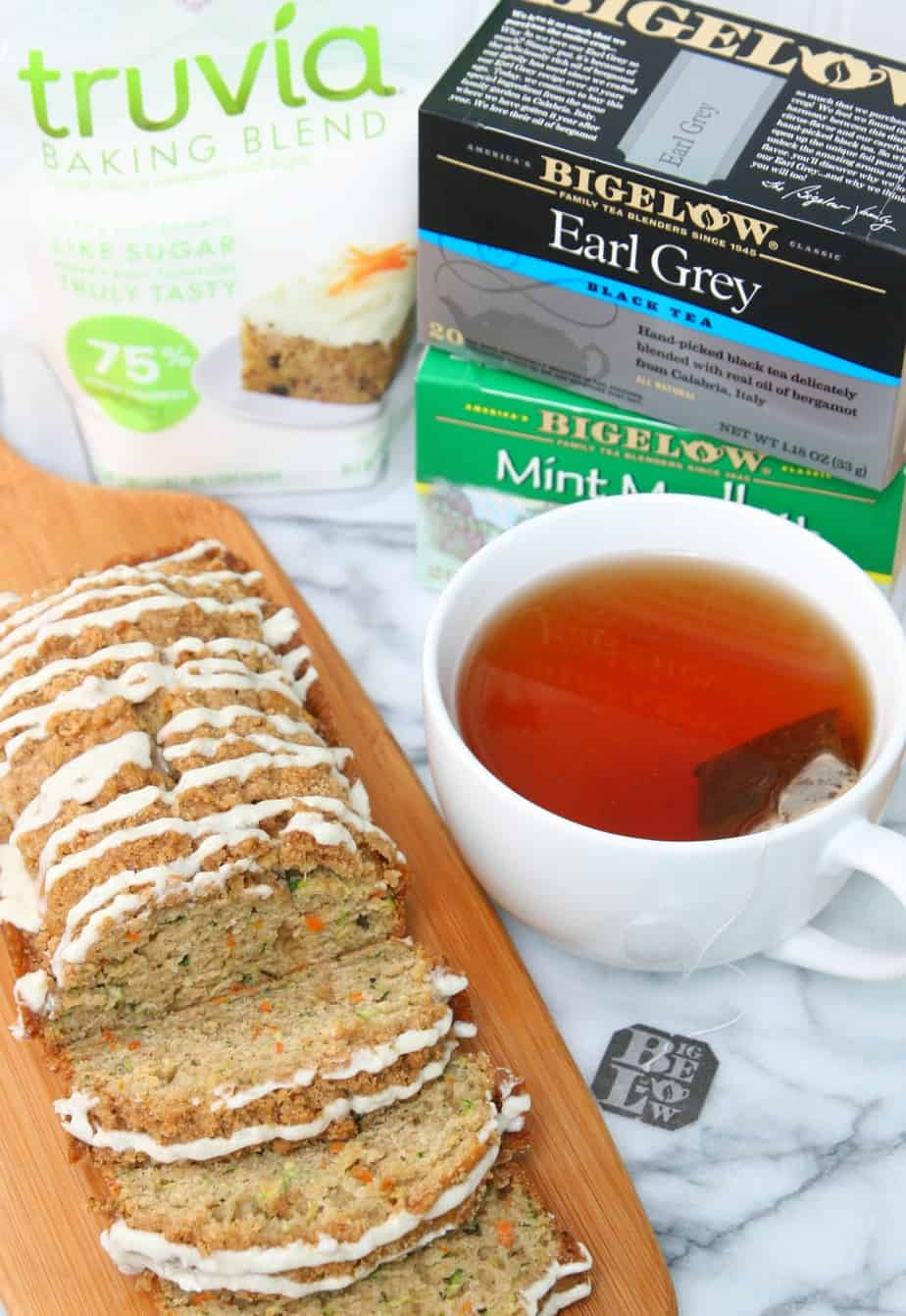 Zucchini Carrot Bread with Truvia and Bigelow Tea