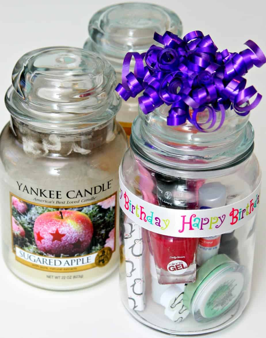 candle jar upcycle - manicure gift in a jar
