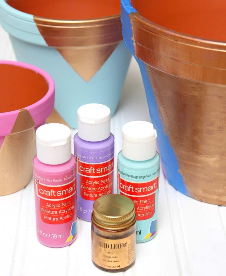 gold pastel flower pots