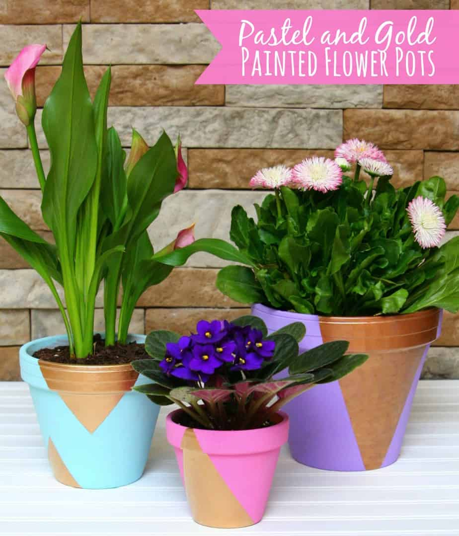 pastel and gold painted flower pots