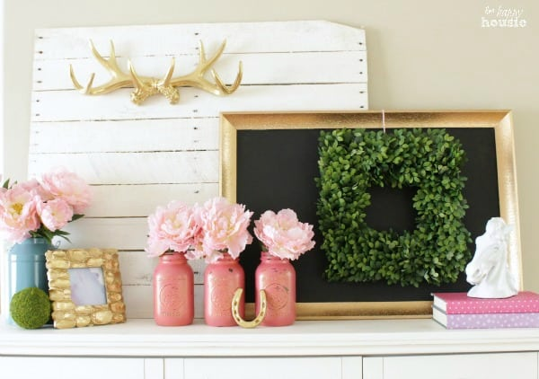 Pastel-Gold-Spring-Mantel-with-Balsam-Hill-Boxwood-Wreath-at-The-Happy-Housie-2