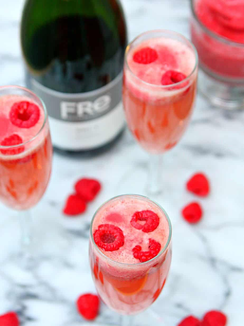 Raspberry Sorbet Bellinis 2