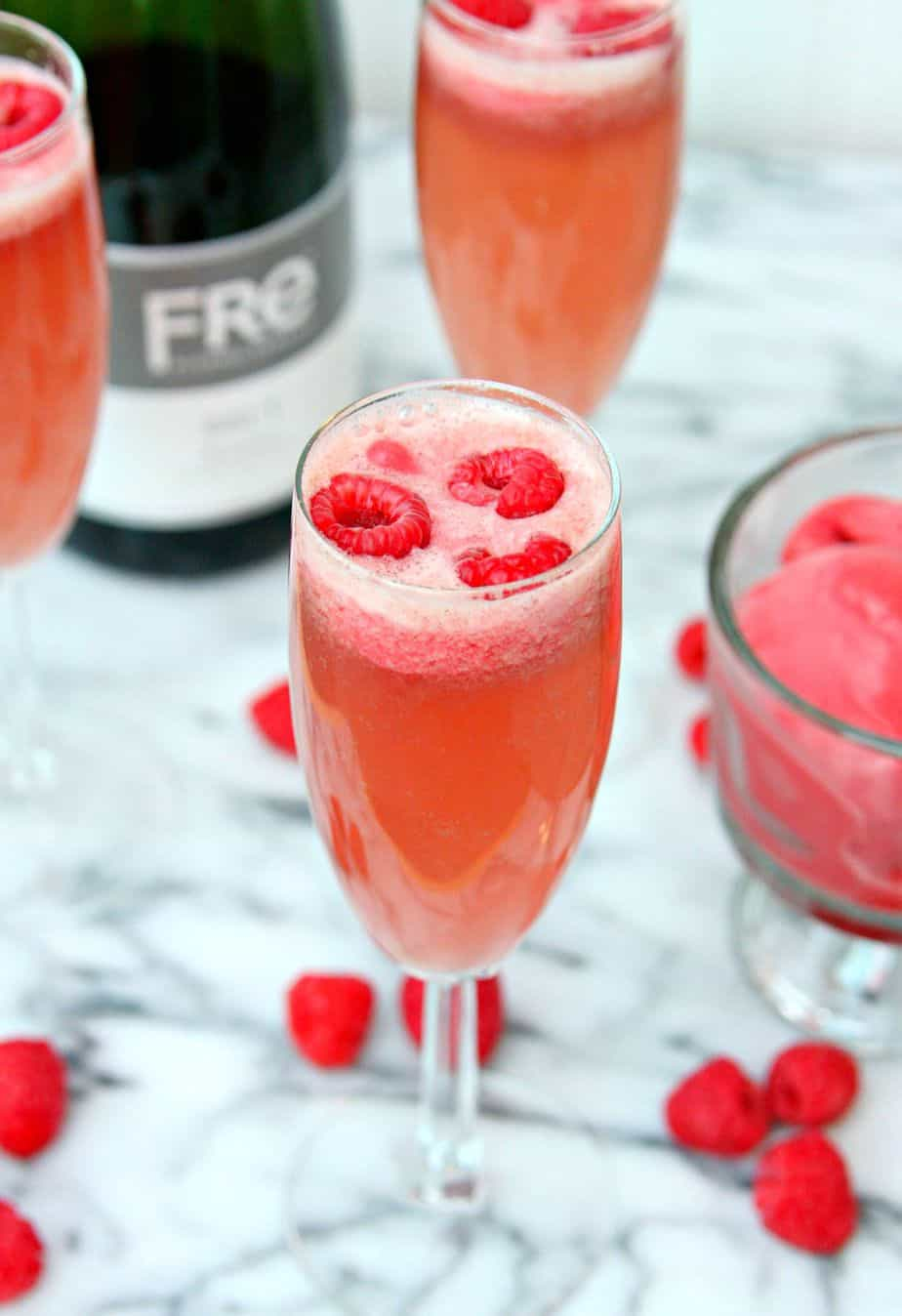 Raspberry sorbet bellinis1