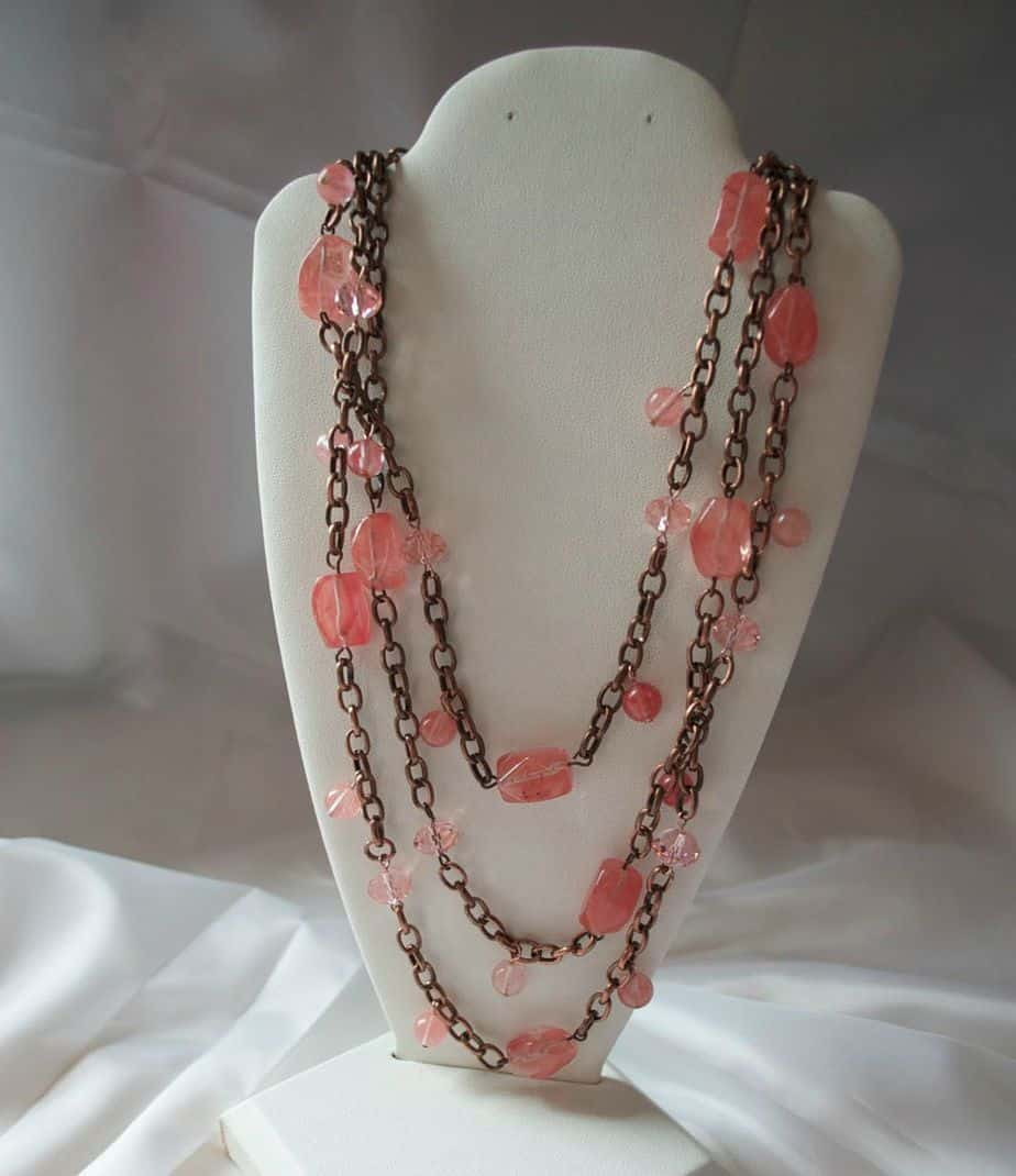 coral and chain necklace