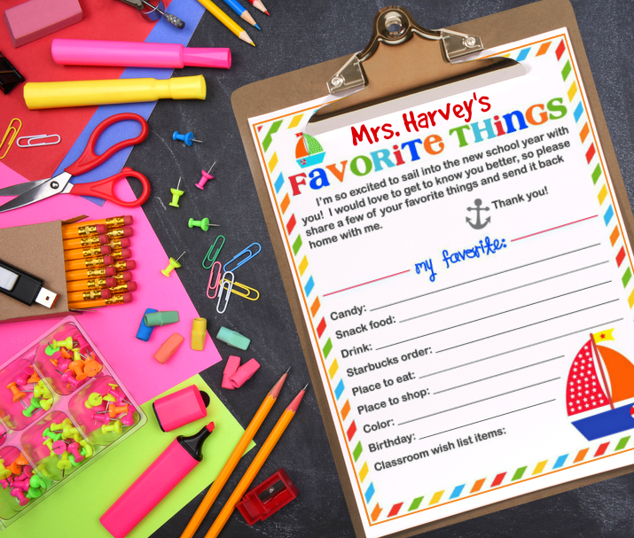 Teacher Favorite Things on Clipboard Free Printable to learn more about your chil'ds favorite things.