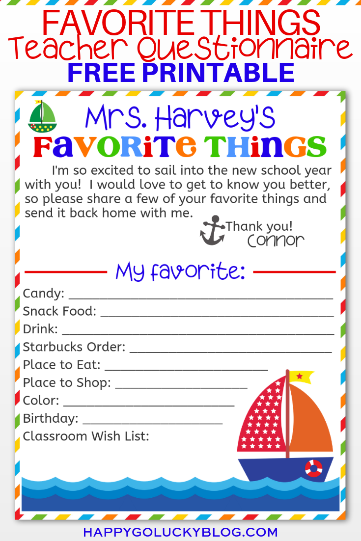 Teacher's Favorite Things Questionnaire Free Printable