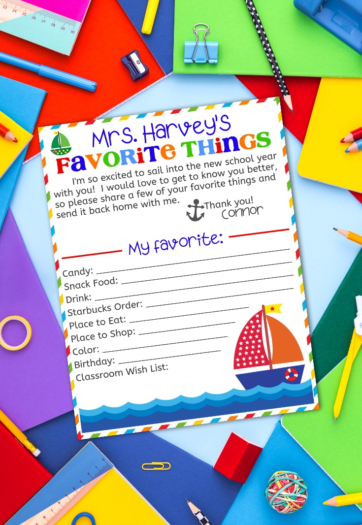image regarding Teacher Favorite Things Printable named Academics Favourite Variables Printable Questionnaire - Delighted Shift