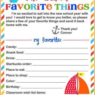 Teacher's Favorite Things {Free Printable}