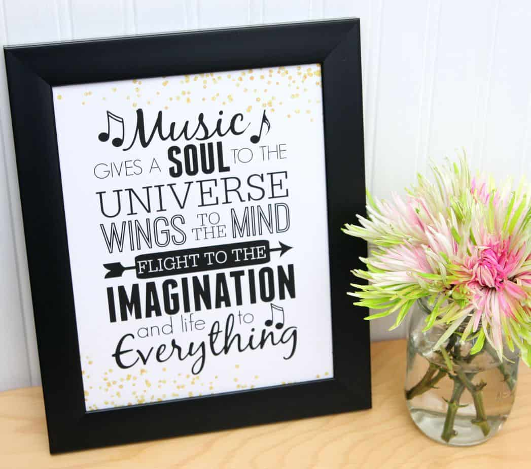music Gives A Soul to the Universe Free Printable