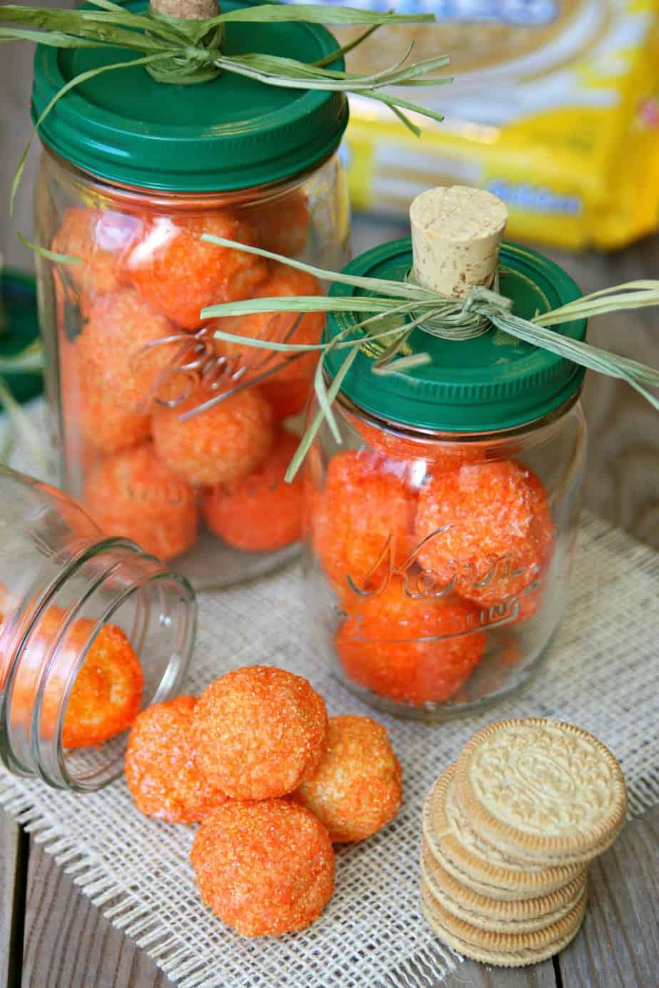 OREO Cookie Balls Mason Jar Pumpkins