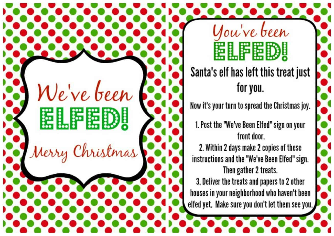 image regarding You've Been Elfed Free Printable identified as Youve Been Elfed - Its period in the direction of elf your neighbors with