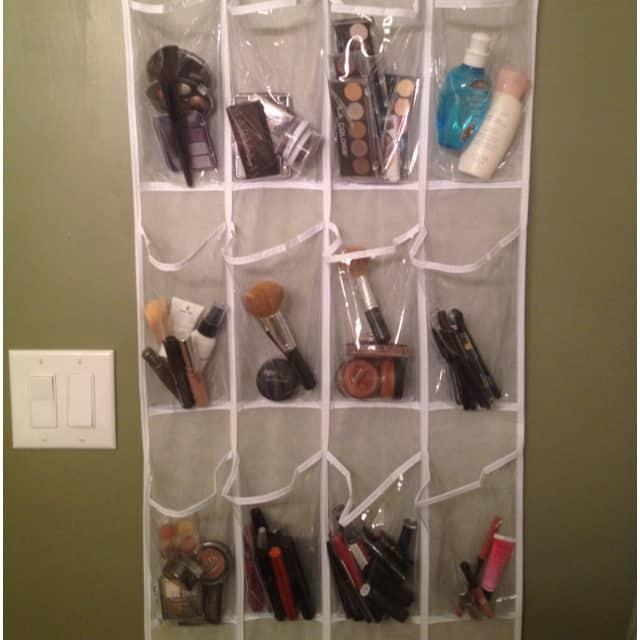 Organize Makeup in Shoe Organizer
