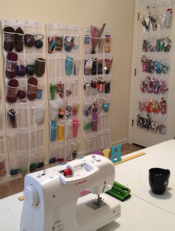 Organize your sewing supplies with a shoe organizer